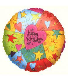 Birthday Hearts & Swirls Balloon