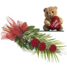 3 Red Roses In Vase & Teddy Bear