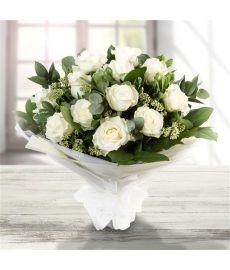 Dozen Long Stemmed White Roses