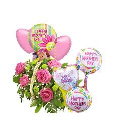 Flower Basket & 6 Balloons Gift Set