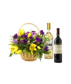 Flower Basket & Wine Gift Set