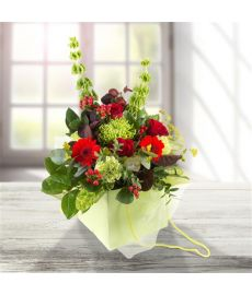 Lime & Red Gift Bag Bouquet