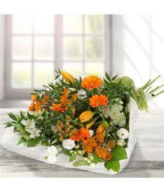 Orange & White Traditional Bouquet